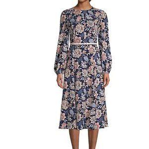 Eliza J Floral Long Sleeve Pebble Crepe Dress Navy